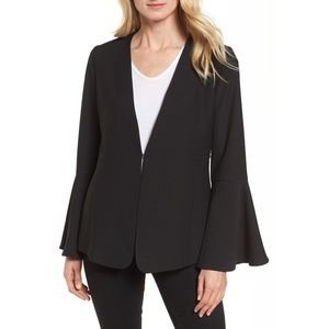 Halogen Bell Sleeve Blazer Small Kiss Front Black